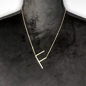 Gold Initial Pendant Necklace Letter F